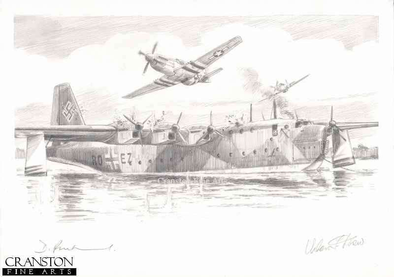 Lake Schaal, Northern Germany, 18th September 1944.  Squadron Leader Urban Drew of 375th Fighter Squadron leading a flight of 3 P-51 Mustangs caught and destroyed the giant BV 238 Flying boat prototype undergoing flight trials on Lake Schaal.