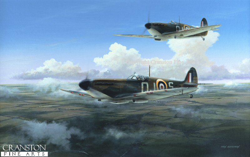 Pilot Officer Allan Wright - later Group Captain, and awarded DFC and AFC - pilots Spitfire QJ-S of No.92 Squadron during the Battle of Britain, with his wingman in close support.
