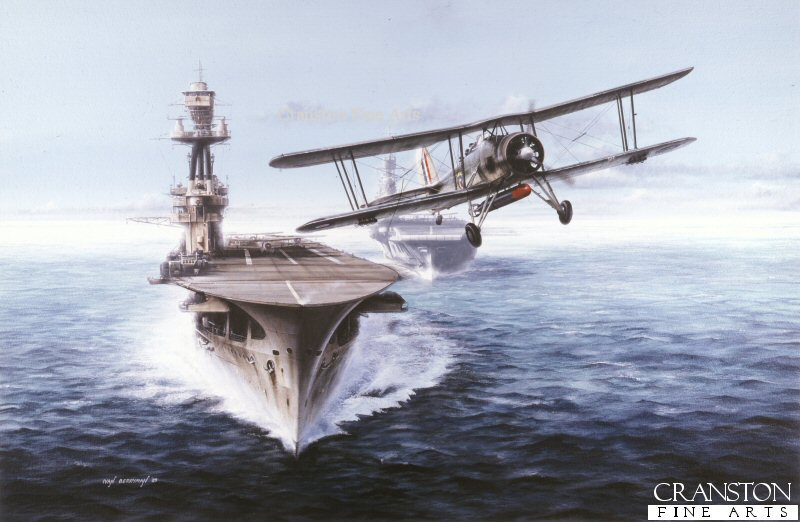 A Fairey Swordfish launches from the Royal Navy aircraft carrier HMS Eagle in 1939.  HMS Eagle would later fall victim to German U-boat U-73 on 11th August 1942.