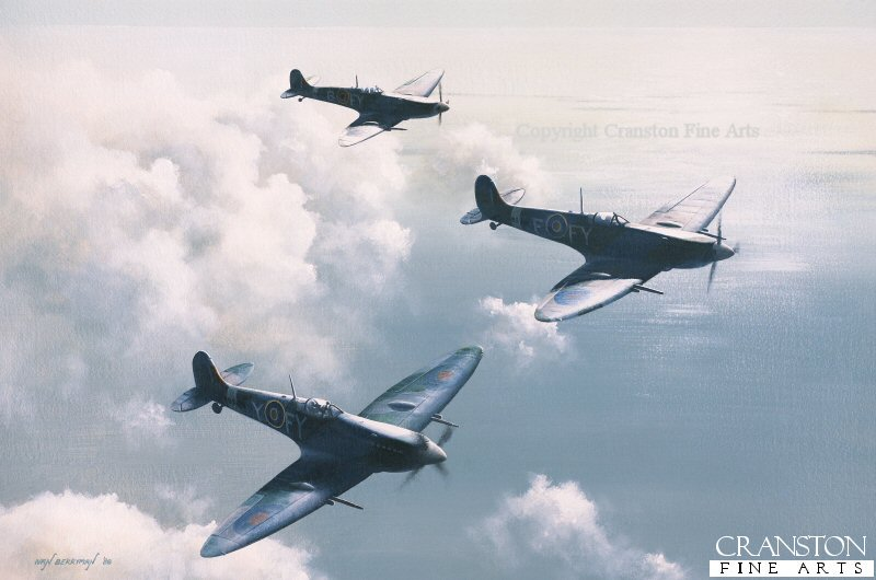 Spitfire Mk.IXs of No.611 Sqn including aircraft FY-F belonging to the Commanding Officer of 611 Squadron, Sqn Ldr Hugo Armstrong, on patrol late in 1942.  Armstrong scored a victory in this aircraft on 2nd November 1942, bringing down an Fw190 for his only victory with this squadron.  With a total of nine victories, he was awarded the DFC in May 1942, and the Bar to the DFC in January 1943, before being shot down and killed over the English Channel in February 1943.