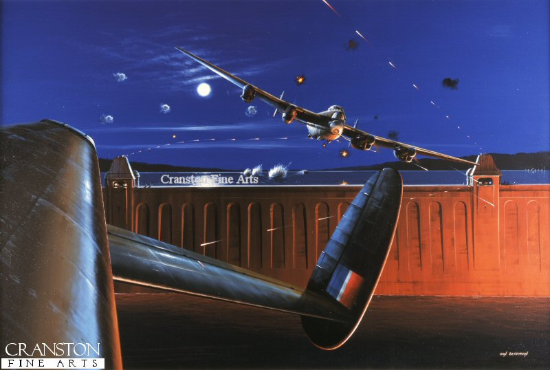 Tracer fire streaks past two Dambuster Lancasters of No.617 Sqn as the decisive Barnes-Wallace bouncing bomb skips towards the dam in the moonlit background.  Fire from the already burning buildings lights up the front face of the dam and reflects off the aircraft as they throttle up to make good their escape.