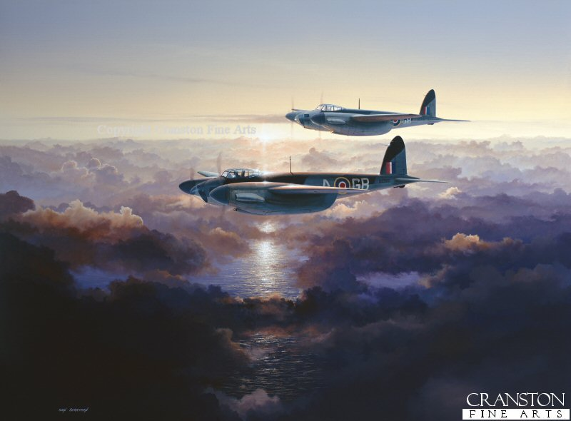 A pair of No.105 Sqn Mosquitos return over the English Channel in the early dawn light.