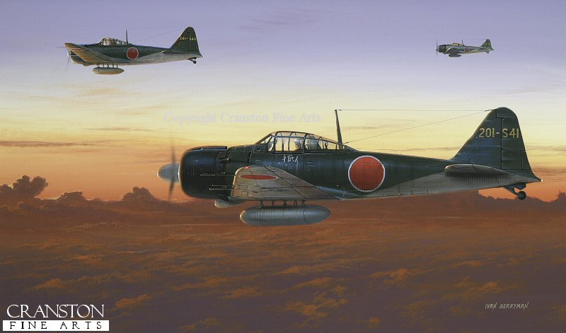 As dawn breaks across South Pacific skies, a group of Mitsubishi A6M5 Zeros of the 201st Air Group head outbound from their base at Rabaul on a raiding sortie in November 1944.