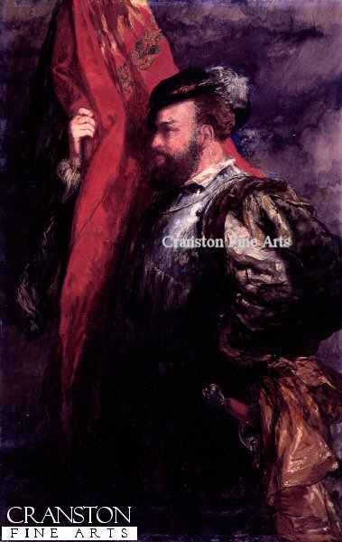 Historical painting of a standard bearer from Henry VIII reign or Queen Elizabeth I reign.