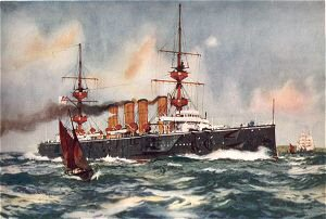 HMS Powerful Steaming up Channel on her Return from South Africa by Charles Dixon.