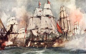 The Victory at Trafalgar. Nelsons Flagship Nearing the Santissima Trinidad by Charles Dixon.