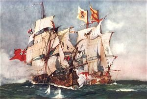 Ansons Centurion Taking the Spanish Galleon Nuestra Senora de Cabadonga 1743 by Charles Dixon.