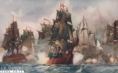 Rodneys Formidable Breaking the Line 1782 by Charles Dixon.
