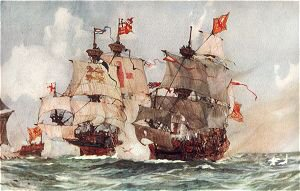 The Capture of the Lion, Scots Man-O-War 1511 by Charles Dixon.