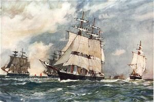The Sailing Training Squadron 1899 by Charles Dixon.