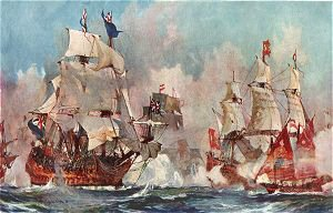 The Prince George at the Battle of Malaga 1704 by Charles Dixon.