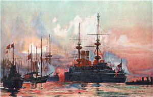 The Prince George at Spithead: The Naval Requiem of Queen Victoria by Charles Dixon.