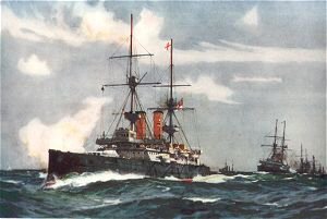 The Revenge Leading the Lee Line of the Reserve Squadron, 1901 by Charles Dixon.