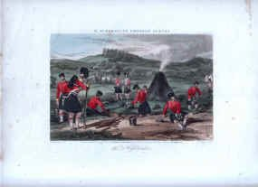 93rd Highlanders at Camp by Rudolf Ackermann