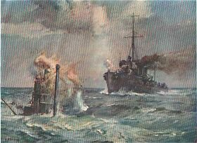 At War: A British Destroyer Ramming an Enemy Submarine by Bernard F Gribble.