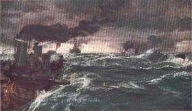 A British Destroyer Engaging an Enemy Submarine by Bernard F Gribble.