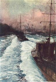 The Hornets of the Seas. Destroyers at Speed by Charles Dixon.