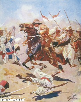 Charge of the 21st Lancers at Omdurman by William Barnes Wollen. (P)