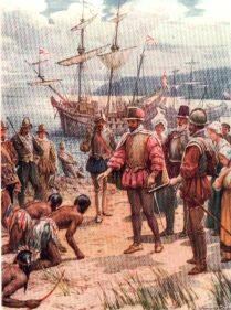Sir Walter Raleigh Landing in Virginia by Howard Davie (P)