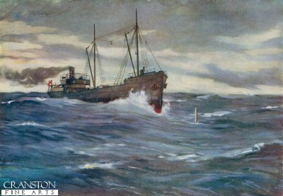 The Collier Thordis About to Ram a German Submarine by Allan Stewart (P)