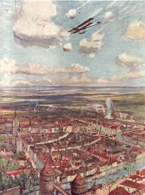 Lieutenant Rhodes-Moorhouse Flying Over Courtrai to Bomb the Railway  by Allen Stewart.