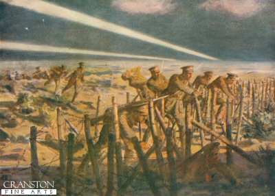 German Searchlights and Very Lights Exposing Temporary Second Lieutenant Armitage and His Party While Cutting the German Wire Entanglements  by Allan Stewart (P)