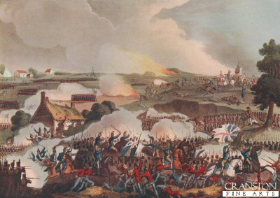 The Centre of the British Army in Action at the Battle of Waterloo, June 18 1815 by T Sutherland after W Heath. (Z)