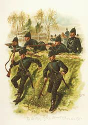 The Scottish Rifles, Skirmishing at a Sham Fight by Harry Payne.