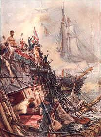 Crippled but Unconquered: The Belleisle at Trafalgar, October 21st 1805 by W L Wyllie.