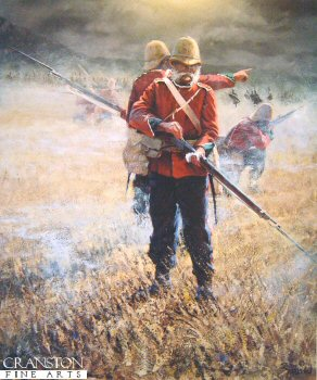 AX0022. Last of the 24th by Bud Bradshaw. <p> Soldier of the 24th Regiment of Foot (South Wales Borderers) loads his last round at the Battle of Isandhlwana. <p> We have managed to obtain 6 copies of this sold out edition, published in the 1980s.. <b><p> Signed limited edition of 950 prints. <p> Image size 20.5 inches x 17 inches (52cm x 43cm)