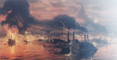 Union Fleet Passing Vicksburg by Tom Lovell.