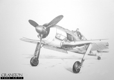 B0227. Fw190A-4, Winter 1944 by Ivan Berryman. <p>The Fw190A-4 was introduced in July 1942, and was equipped with the same engine and basic armament as the A-3. A total of 976 A-4s were built between June 1942 and March 1943.  Some of the  most successful fighter aces of the Luftwaffe flew the Fw190.  Otto Kittel scored 267 vicotries, Erich Rudorffer claimed 222 kills, and Walter Nowotny 258 victories. The majority of their kills were scored while flying the Fw190.<b><p>Signed by Oberfeldwebel Willi Reschke. <p> Signed limited edition of 35 prints. <p> Image size 12 inches x 9 inches (31cm x 22cm)