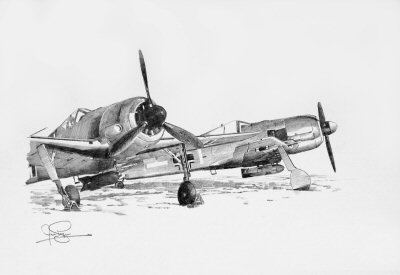 Fw190F Fighters - Winter 1943 by Ivan Berryman.