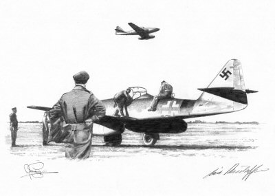 B0231. Morning Maintenance by Ivan Berryman. <p> Me262 of I./JG7 is prepared for an early morning sortie. <b><p> Signed by Major Erich Rudorffer (deceased). <p> Signed limited edition of 35 prints. <p> Image size 12 inches x 9 inches (31cm x 22cm)