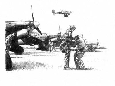 B0234. Stuka Ju87 - Preparing for the Day by Ivan Berryman. <p> Pilots prepare for their bombing missions in their Ju-87 Stukas. <b><p>Signed by Hans Krohn.<p>Signed limited edition of 35 prints. <p> Image size 12 inches x 9 inches (31cm x 22cm)