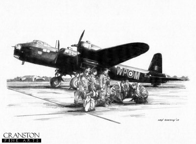 B0236. Preparing To Go - Crew of a Short Stirling by Ivan Berryman. <p> The crew of MkIII Short Stirling WP-M of No.90 Squadron RAF prepare for a flight test on the morning of 3rd July 1943. <br><br>Aircraft BK718, with designation WP-M, of No.90 Squadron RAF was lost over Germany in the early hours of 4th July 1943.   Six of the seven crew were lost in the crash, the rear gunner surviving to be taken prisoner.  Stirling WP-O was also lost on the same mission, with the loss of all seven crew.<br><br>The crew of Stirling WP-M, BK718: Sgt Hugh Murray, Flight Engineer - Sgt Robert Freeland, Air Bomber - P/O Geoffrey Smith, Air Gunner - Sgt Oliver Beard, Wireless Operator - P/O Andrew Gilmour, Navigator - F/Lt Robert Platt, Pilot - Sgt I. H. Norris, Air Gunner. <b><p>Signed by Sgt George B Thomson. <p>Signed limited edition of 35 prints. <p> Image size 12 inches x 9 inches (31cm x 22cm)