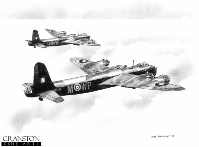 B0237. Stirlings of No.90 Squadron by Ivan Berryman. <p> The Short Stirlings WP-M and WP-O, aircraft numbers BK718 and EH907, fly together en route to Cologne in the late evening of 3rd July 1943. <br><br>Aircraft BK718, with designation WP-M, of No.90 Squadron RAF was lost over Germany in the early hours of 4th July 1943.   Six of the seven crew were lost in the crash, the rear gunner surviving to be taken prisoner.  Stirling WP-O was also lost on the same mission, with the loss of all seven crew. <br><br>The crew of Stirling WP-M, BK718: Sgt Hugh Murray, Flight Engineer - Sgt Robert Freeland, Air Bomber - P/O Geoffrey Smith, Air Gunner - Sgt Oliver Beard, Wireless Operator - P/O Andrew Gilmour, Navigator - F/Lt Robert Platt, Pilot - Sgt I. H. Norris, Air Gunner. <b><p>Signed by Sgt George B Thomson. <p>Signed limited edition of 35 prints. <p> Image size 12 inches x 9 inches (31cm x 22cm)