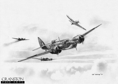 B0287. Tribute to the Blenheim Crews by Ivan Berryman. <p> Blenheim IVs of No 21 Squadron, here being attacked by Adolf Gallands Bf 109 on 21st June 1940.  Galland claimed two Blenheims and a Spitfire that day before he, too, was shot down by the defending Spitfires of 303 Sqn. <b><p>Signed by Eric Winkle Brown (deceased)<br>and<br>Wing Commander Roger Morewood (deceased). <p>Signed limited edition of 35 prints.  <p> Image size 12 inches x 9 inches (31cm x 23cm)