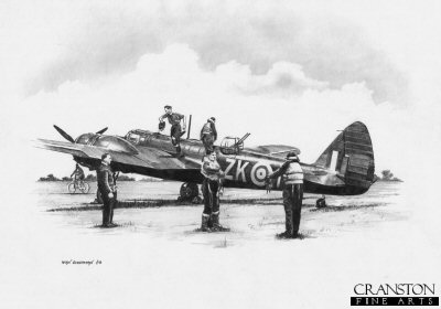 B0290. Ready for the Off - Blenheim of No.25 Sqn by Ivan Berryman. <p> A Royal Air Force Blenheim of No.25 Sqn is prepared for take-off as the crew get ready to board their aircraft. <b><p>Signed by Flight Lieutenant Joseph P R Chamberlin<p>Signed limited edition of 35 prints.  <p> Image size 12 inches x 9 inches (31cm x 23cm)
