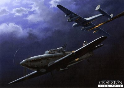 B0292AP. Night of Defiance by Ivan Berryman. <p> Boulton Paul Defiant of 151 Sqn, based at Wittering, attacking a Messerschmitt Me110. Following an exhausting summer during the Battle of Britain, 151 was designated a night fighter squadron and was equipped both with Hurricanes and Defiants. On the night of 15th January 1942, two Defiants succeeded in bringing down three German aircraft and further successes were recorded during enemy raids on Birmingham when a further nine kills were claimed. <b><p>Signed by Eric Winkle Brown (deceased). <p>Limited edition of 20 artist proofs.  <p> Image size 12 inches x 9 inches (31cm x 23cm)