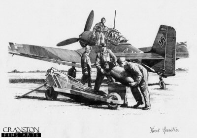 Bombing Up - Stuka of Hans Rudel by Ivan Berryman. (P)