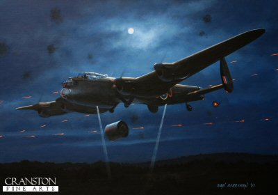 B0314. The One That Broke The Dam by Ivan Berryman. <p> Amid a hail of defensive fire, Flt Lt D J H Maltby holds Lancaster ED906/G AJ-J steady for his bomb aimer John Fort to perfectly choose his moment to release the Upkeep Bomb that would ultimately breach and destroy the Mohne Dam during the famous Dambuster raids on the Ruhr on the night of 16th / 17th May 1943. <b><p>Signed limited edition of 1150 prints. <p> Image size 12 inches x 9 inches (31cm x 23cm)