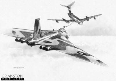 B0338. Vulcan Refuel by Ivan Berryman. <p> Vulcan B2 XM607 of No.44 Sqn refuels from a Victor tanker of No.55 Sqn.  One of several fuel stops in the 16 hour mission to the Falklands and back. <b><p>Small limited edition of 30 prints.  <p> Image size 12 inches x 8 inches (31cm x 20cm)