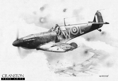 B0361. Time to Leave by Ivan Berryman. <p> Spitfire L1062 (DW-L) of 610 Sqn was hit by flak over Dunkirk on 29th May 1940 and this picture depicts Sergeant Peter Jenkins struggling to get out of the cramped cockpit as his stricken aircraft plunges toward the sea. <b><p>Signed by Group Captain Byron Duckenfield AFC (deceased). <p>Limited edition of 30 giclee art prints.  <p> Image size 12 inches x 8 inches (31cm x 21cm)