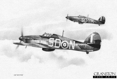 501 Squadron Hurricanes by Ivan Berryman.