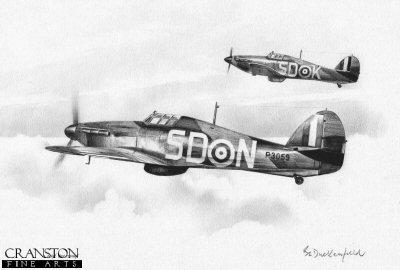 501 Squadron Hurricanes by Ivan Berryman. (P)
