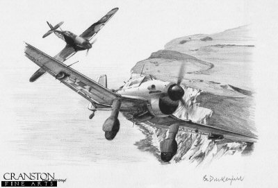 B0369P. Stragglers End by Ivan Berryman. <p> Byron Duckenfield is recorded as having shot down a Stuka near Dover, but the exact circumstances are not clear.  501 Sqn did encounter Stukas in this area on a number of occasions -  depicted here is a 501 Sqn Hurricane on the tail of a Ju.87. <b><p> Signed by <a href=signatures.php?Signature=1236>Group Captain Byron Duckenfield AFC (deceased)</a>,<br><a href=signatures.php?Signature=2065>Flight Lieutenant Alex Thom DFC</a><br>and<br><a href=signatures.php?Signature=1593>Wing Commander Roger Morewood (deceased)</a><br>and features the mounted original signatures of : <br>Wing Commander Christopher Bunny Currant DSO DFC (deceased),<br>Squadron Leader Ginger Lacey DFM (deceased),<br>Wing Commander Bob Stanford Tuck DSO DFC** (deceased),<br>Major Franz Kieslich (deceased)<br>and<br>Dietrich Peltz (deceased). <p> Original pencil drawing by Ivan Berryman.  <p> Paper size 17 inches x 12 inches (43cm x 31cm)