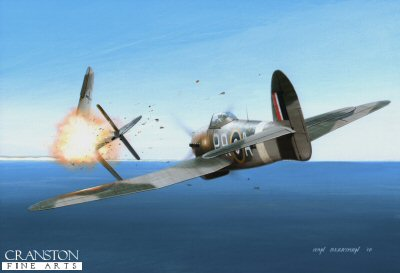 B0370AP. Hard Hitter by Ivan Berryman. <p> Whilst in command of 609 Sqn in January 1944, F/Lt (later Wing Commander) J R Baldwin, leading a small formation of Hawker Typhoon 1Bs, encountered thirty Focke-Wulf  Fw190s and engaged them in a furious battle.  Nine enemy aircraft were shot down in the action, Baldwin accounting for two of them himself.  He went on to finish the war as the highest-scoring Typhoon pilot of all with 15 confirmed victories, one shared, one probable and four damaged. He is depicted here, flying  DN360 with the codes PR-A. <b><p>Signed by Wing Commander Jerry Eaton DFC. <p>Limited edition of 60 artist proofs.  <p> Image size 12 inches x 8 inches (31cm x 21cm)