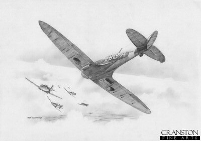 B0375. Into the Schwarm by Ivan Berryman. <p> The lone Spitfire of Maurice <i>Peter</i> Brown of No.41 Sqn, single-handedly attacks a group of eight Me109s on 25th October 1940. <b><p>Signed by Squadron Leader Maurice P Brown (deceased). <p>Limited edition of 30 giclee art prints.  <p> Image size 12 inches x 8 inches (31cm x 21cm)