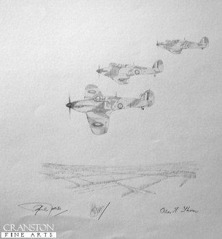 32 Squadron Hurricanes - Battle of Britain by Graeme Lothian. (P)
